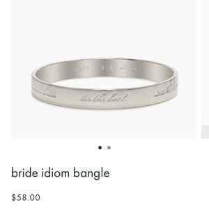 Kate Spade bride idiom bangle in silver